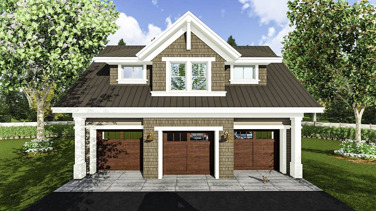 Plan 14631rk: 3 Car Garage Apartment With Class In 2019 | Garage