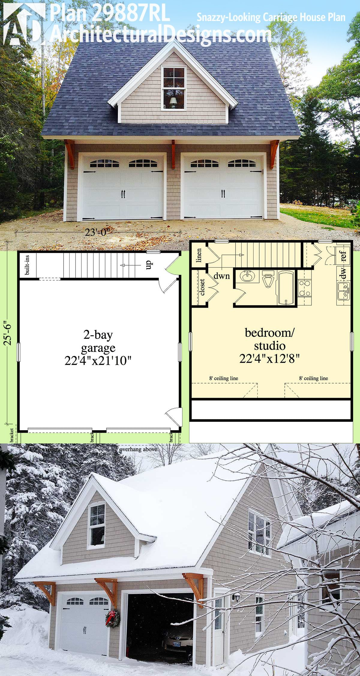 Plan 29887rl: Snazzy-looking Carriage House Plan   Garage   Carriage