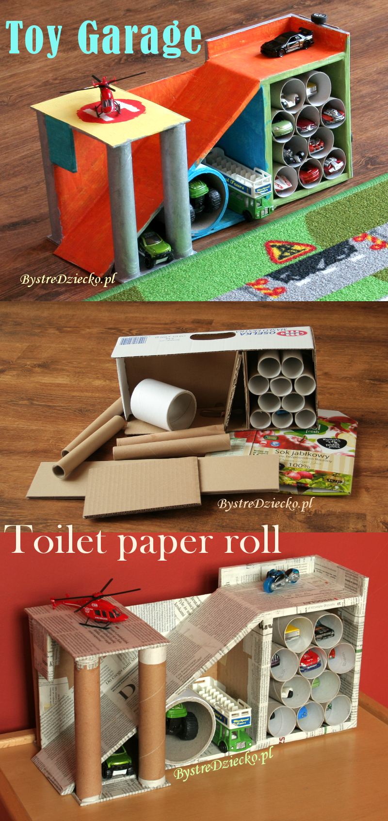 Car Garage Made From Toilet Rolls And Cardboard Boxes -   Cardboard