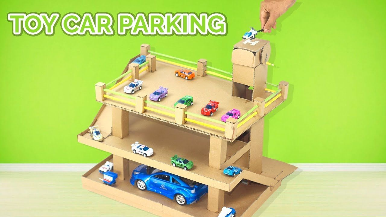 Cardboard Toy Car Parking Garage Learn Colors With Lift For Children