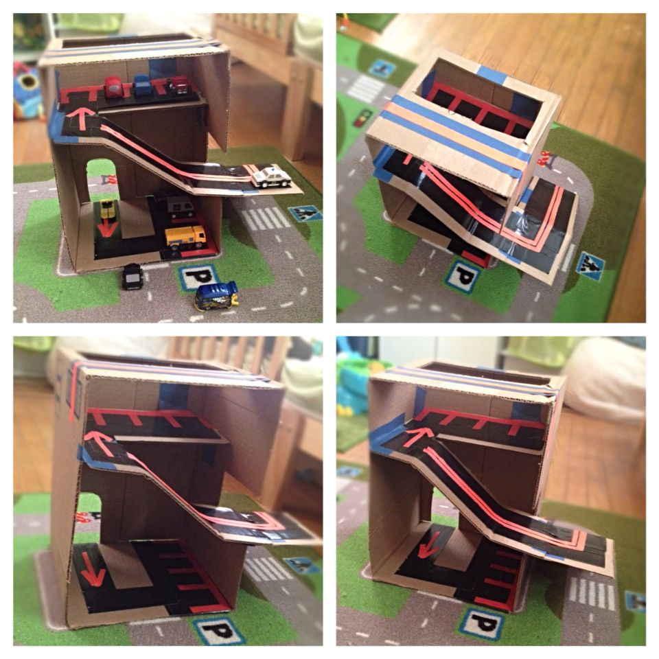 Make A Garage For Your Kid's Toy Cars, Out Of Just Cardboard And