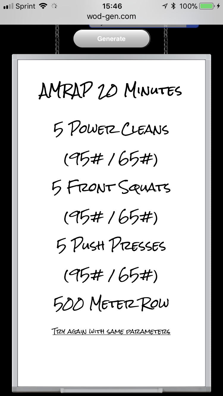 For At Home But Swap Rowing To 15 Situps   Garage Wod