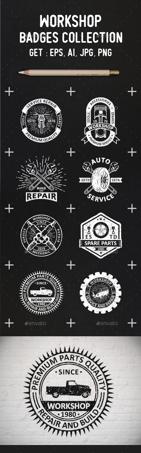 Garage Logos And Badges Template Vector Eps, Ai Download