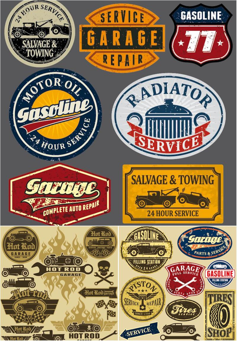 Grunge Automotive Labels And Signs Vector | Garage Logo