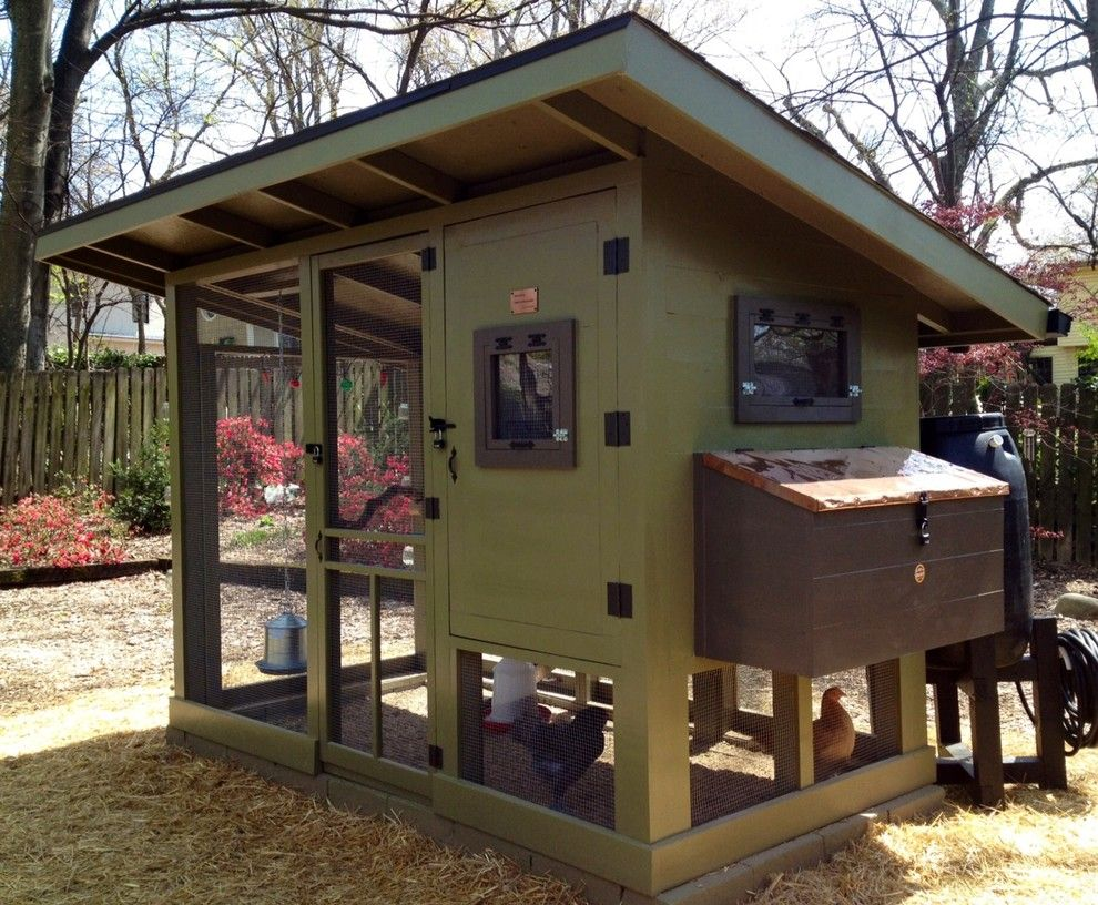 Splashy Chicken Coop Kits In Garage And Shed Farmhouse With