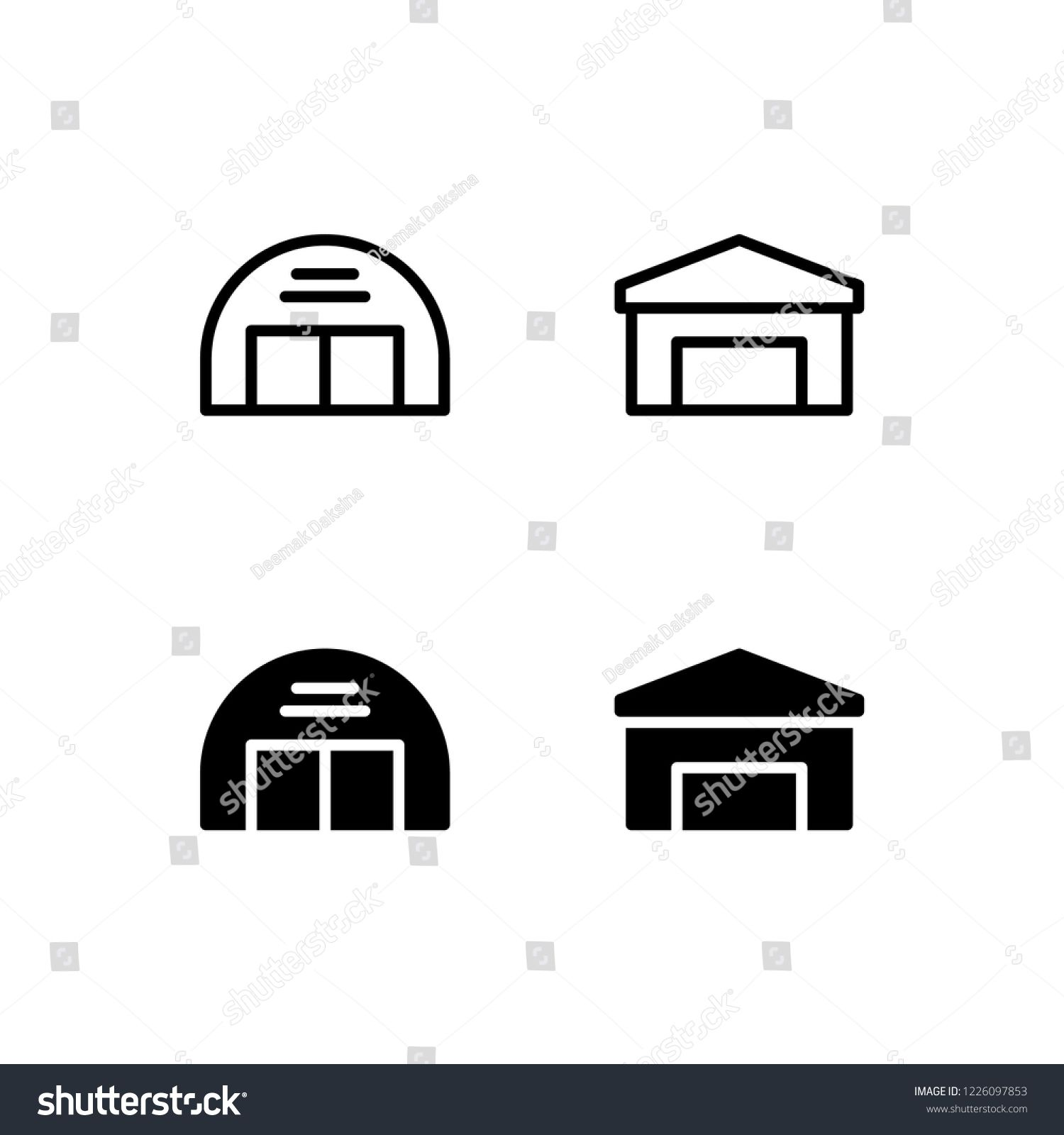 Hangar Icon Design Hangar, Garage, Airport, Aviation, Shed
